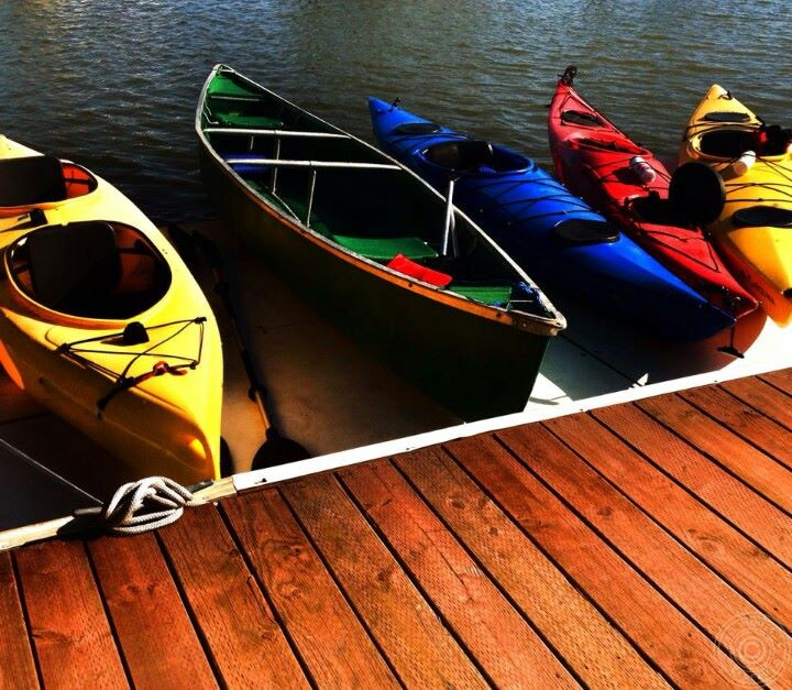 kayaks and canoe at the Guest Dock