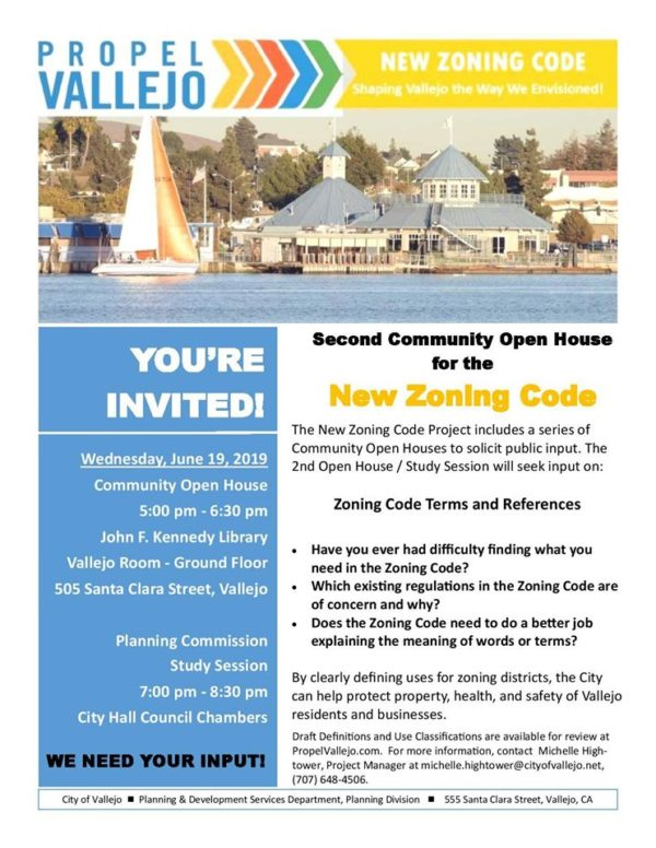 Zoning Code Community Open House + Study Session – Vallejo